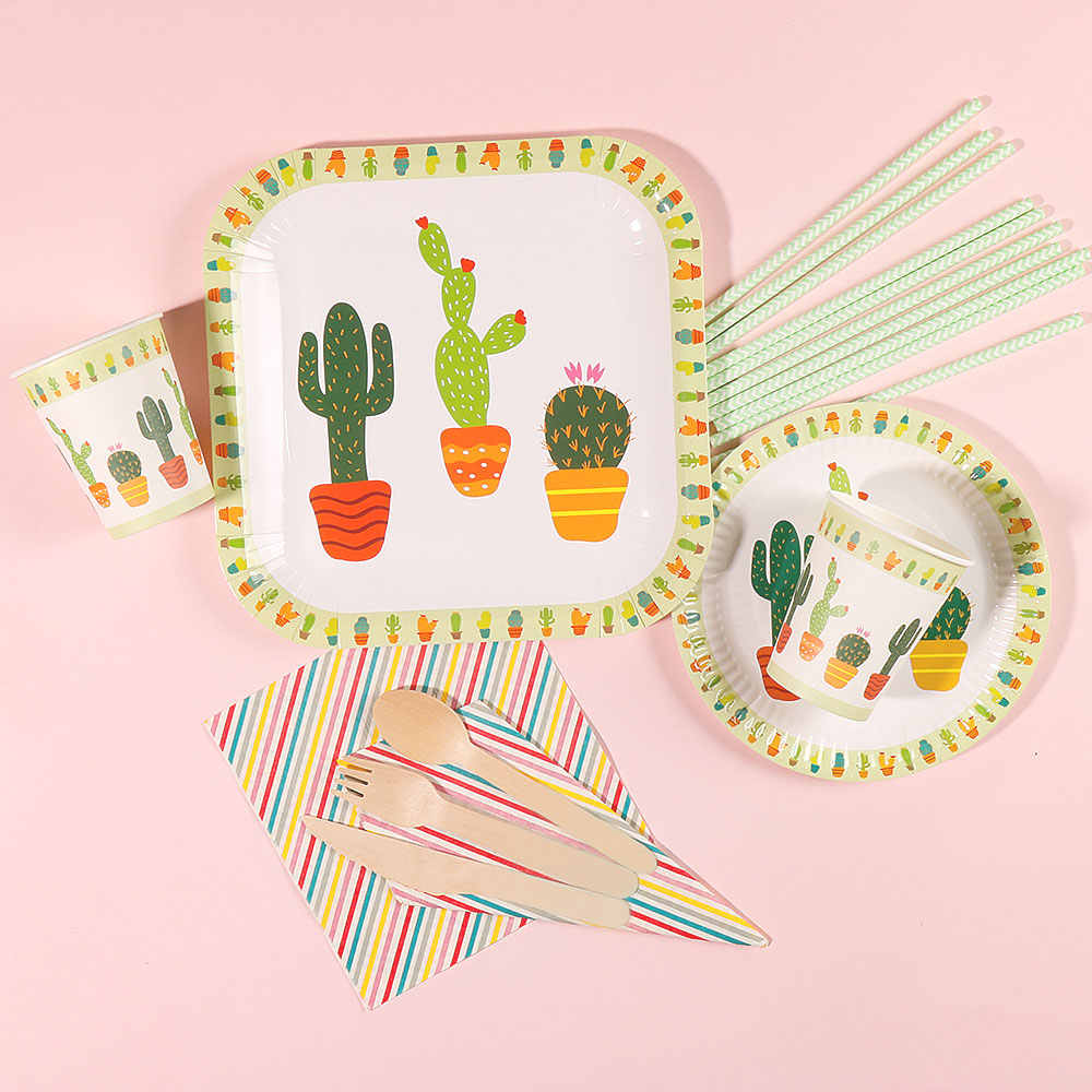 Riscawin The Cactus Paper Plates Birthday Wedding Party Decoration For 10 Packs Disposable Tableware Set Baby Shower Supplies