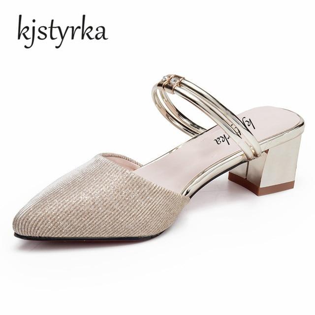 Kjstyrks 2018 Summer Women Bling Slides Half Slippers Med Heels Velvet  Mules Shoes Woman Pinted Toe d632aedc0bdc