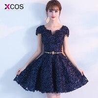 2018 New Arrival Navy Blue Floral Lace Short Homecoming Dress Short Sleeve Cheap Formal vestido corto para fiesta