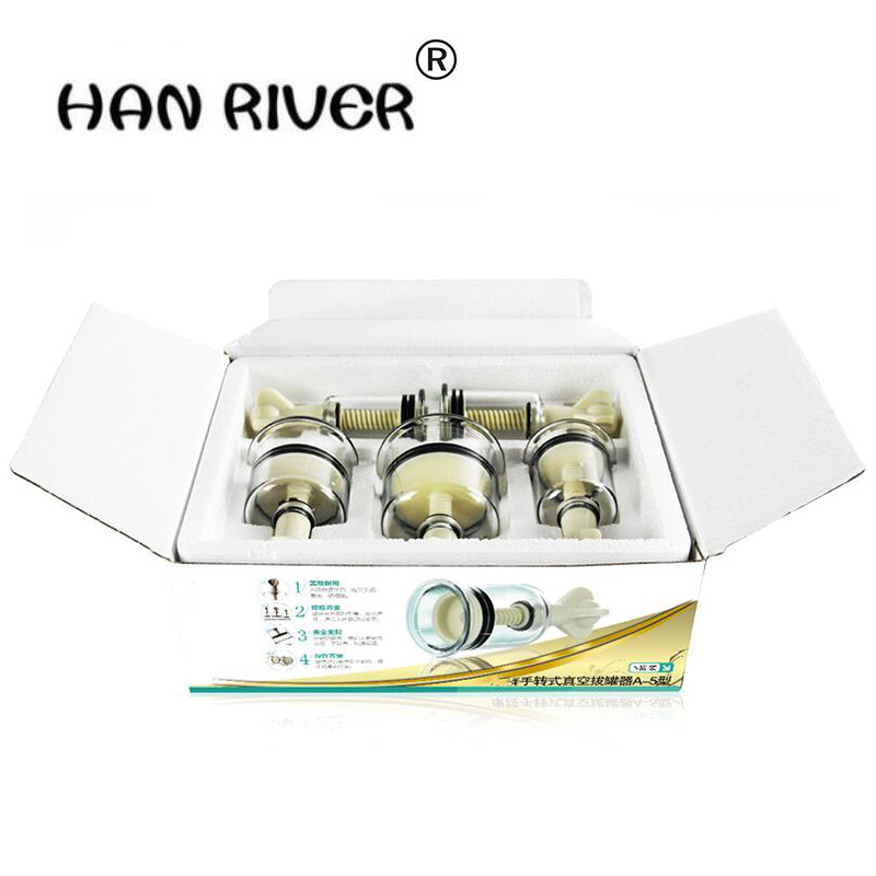 HANRIVER High quality Cupping apparatus hand screw rotary 5 cans more household vacuum cupping body massager free shipping hanriver high quality household massager