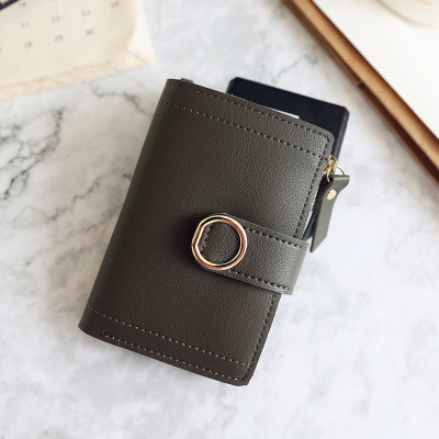 Womens new zipper buckle ring simple small wallet 2019 new fashion trend student walletWomens new zipper buckle ring simple small wallet 2019 new fashion trend student wallet