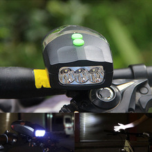 Universal White Front Head Light Bike Bicycle Light  Cycling Lamp + Electronic Bell Horn Hooter Siren Waterproof Accessories