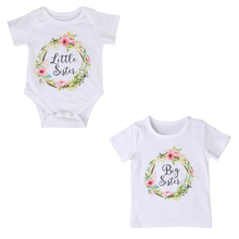 b292e58a1a98 Cute Floral Baby Girl Little Big Sister Clothing Family Match Clothes  Outfits Baby Girl Jumpsuit Romper