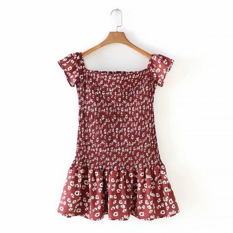 Fashion 2019 Summer Women Ditsy Floral Print Bohemian Dress Slash Neck Off Shoulder Short Dress Waist Ruffle Holiday Dress in Dresses from Women 39 s Clothing