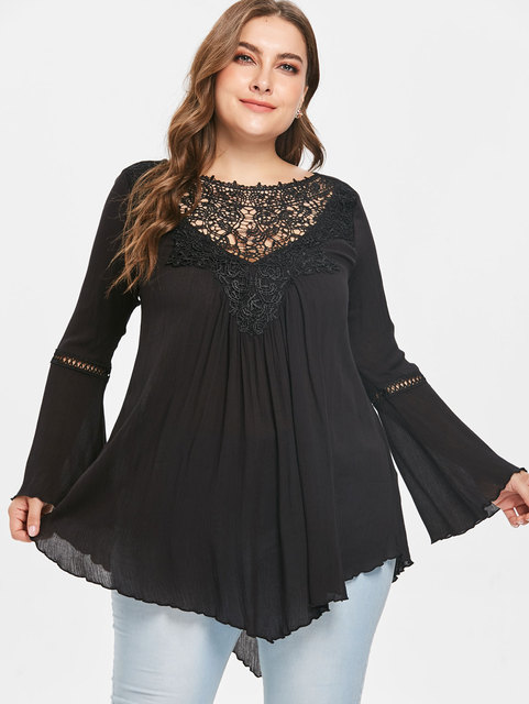 b487bdf7a7a19d Wipalo Plus Size 5XL Asymmetrical Lace Panel Tunic Blouse Casual Solid O  Neck Flare Long Sleeve