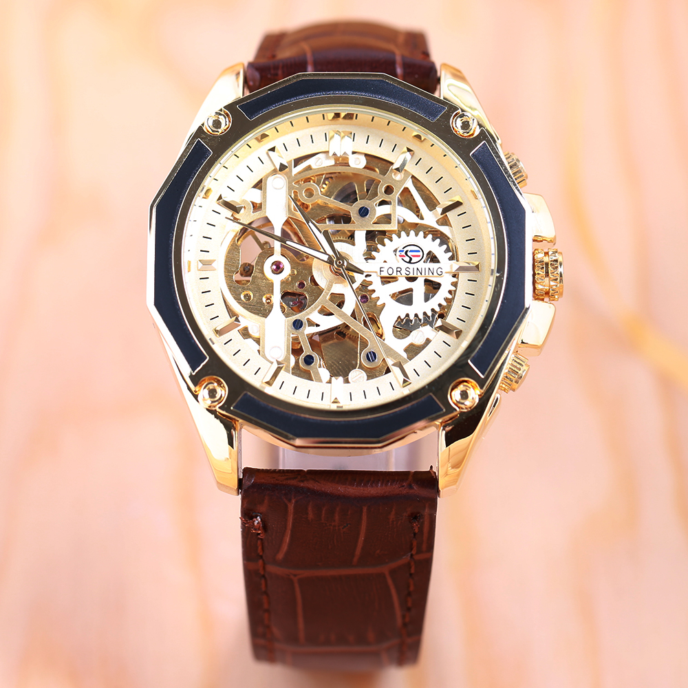 FORSINING Business Men Automatiska Mekaniska Watch Leather Strap - Herrklockor - Foto 2