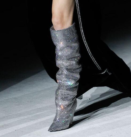 Große as Frauen Stiefel Heels Picture Niedrigen Für Enge Picture Hohe As Cone Spitz Runway Kristall Verziert Elegante Absätzen Knie Größe 11 qpw6AH