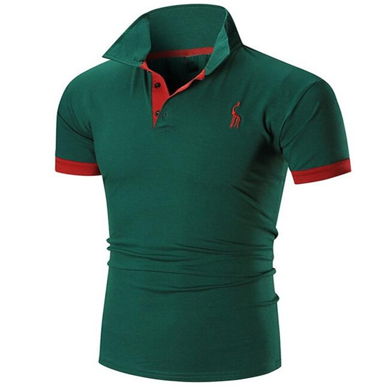 HOWL LOFTY Mens   Polo   Shirt Brands 2018 Male Short Sleeve Casual Slim Solid Color Printing Deer Pattern   Polos   Men 3XL