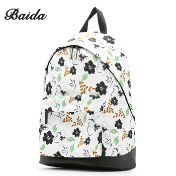 BAIDA Brand Fashion Backpack Women Floral Printing Backpacks Lots Pocket Casual Daypack Fit 14 Inch Laptop
