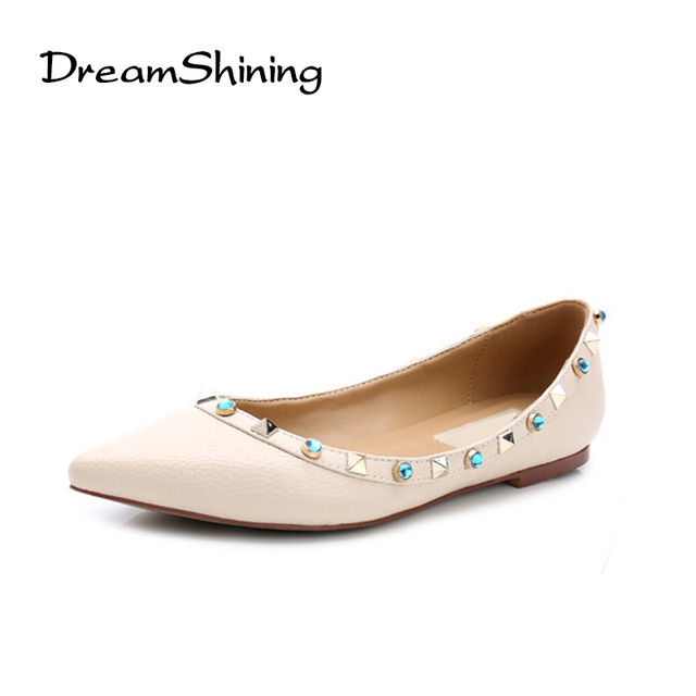 ebc28edb40655 DreamShining Woman Ballet Flats Shoes Genuine Leather Rivets Pointed Toe  Casual Flat Rivet Spiked Female Loafers