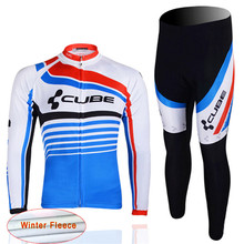 2016 New CUBE Men's Cycling Thermal Fleece bib long pants jersey ropa ciclismo pro team bicicleta MTB Bicycle Clothing Sport