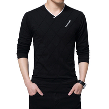 TFETTERS Fashion Men T shirt Slim Fit Custom T shirt Crease Design Long Stylish Luxury V