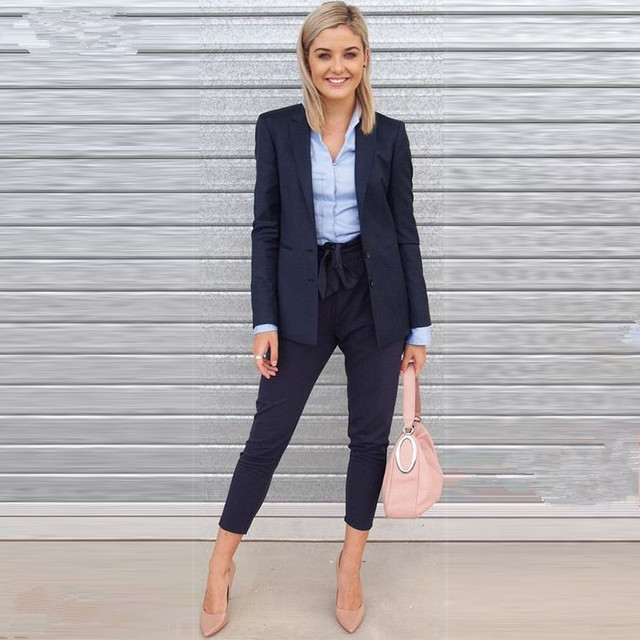 New Design Black Formal Elegant Set Of Women Business Suit Blazers And Trousers  Office Suits Ladies Pants Suits Trousers Suits 977bb52b19e5