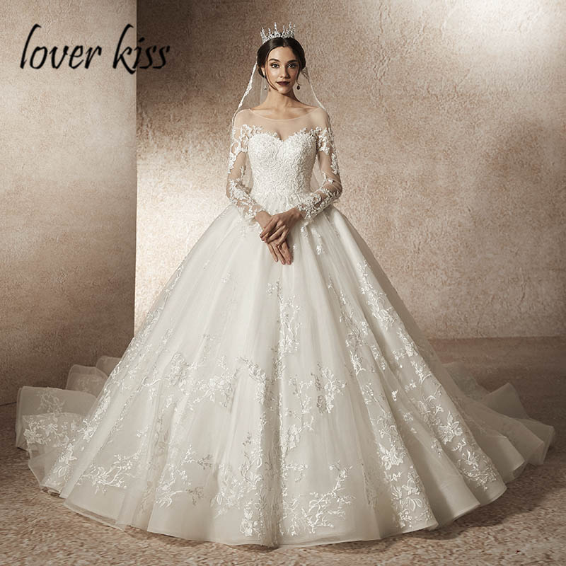 Lover Kiss Vestido De Noiva 2019 Transparent Tulle Wedding Dress with Sleeve Lace Beaded Low Back