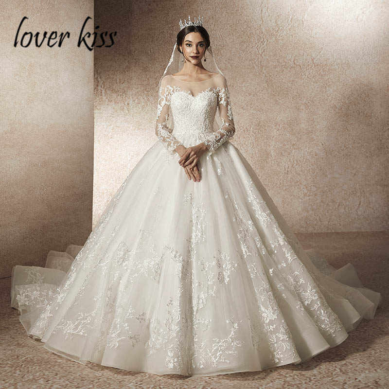 Lover Kiss Vestido De Noiva 2019 Transparent Tulle Wedding Dress with Sleeve  Lace Beaded Low Back 72bb3d76c026