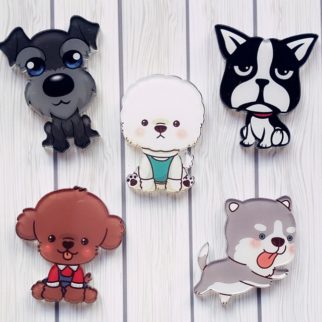 15 unids perro de dibujos animados broche Insignias acrílico badge ...