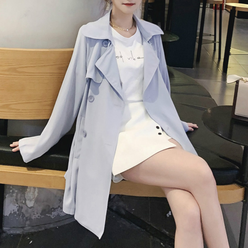 Trench   Turn-down Collar Double Breasted Pockets Button Long Full Casual Wide-waisted