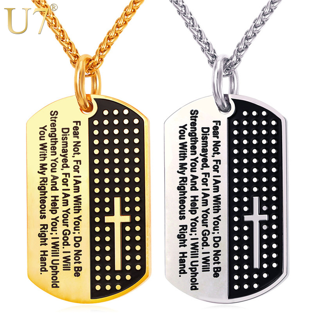 U7 Dog Tag Cross Necklaces Pendant Gold Color Stainless Steel