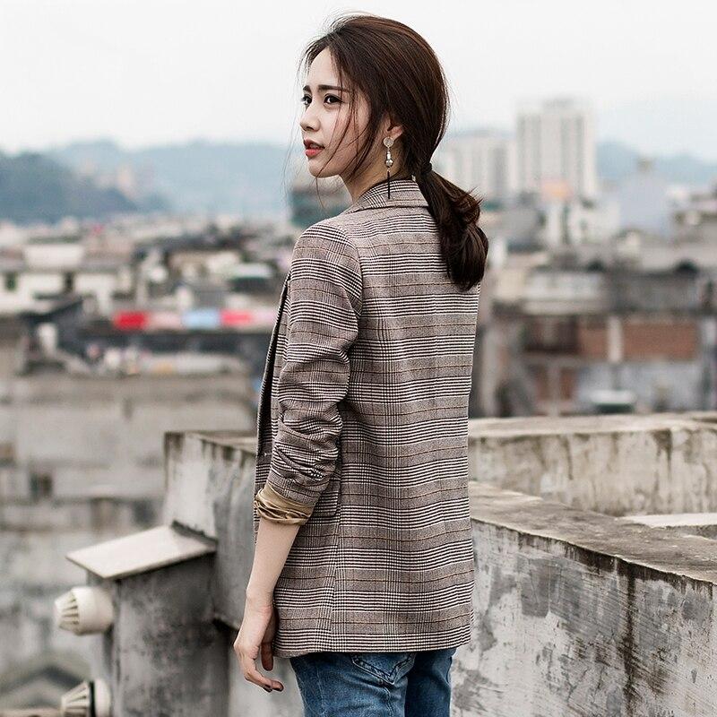 Printemps 2019 À Casual Coréenne Costume Tops Manteau Blazer Manches Survêtement Petit Mince Automne Plaid Mode Veste Nouvelle Wun1447 Longues Femmes wSxtPq1