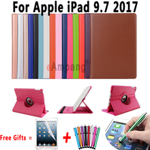 360 Degree Rotating Leather Cover For Apple New iPad 9.7 2017 Case with Stand and Sleep Smart Cover For New iPad 9.7 2017 Case