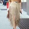 2016 Nuevos de Cuero de Gamuza Con Flecos Faldas Mujeres Del Otoño Más El Tamaño S ~ XXL de La Falda Maxi Moda de Alta Wiast Hip Paquete Saia Longa