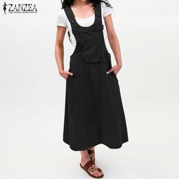 ZANZEA 2019 Summer Long Dress Women Casual Vintage Dresses Mid Calf Vestidos Pockets Strapless Sundress Plus Size S-5XL Overalls 5