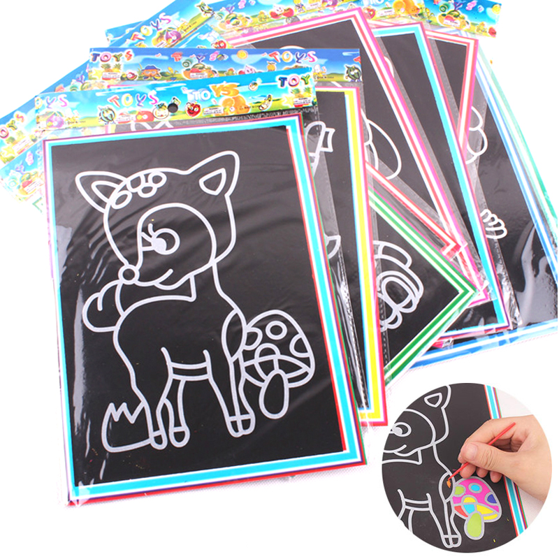 Scratch Art Paper Card Painting Coloring Creative Drawing With Stick Magic Toys For Children 13x9.8cm Available On Both Sides