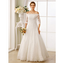 LAN TING BRIDE Backless A-Line Wedding Dress Off the shoulder 3/4 Sleeve Lace Bridal Gown with Beading Ruching robe de mariage