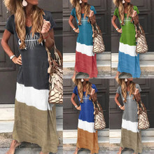 Women Dress 2019 Fashion Women Loose Color Block Patchwork O-Neck Short Sleeve Maxi Long Dress
