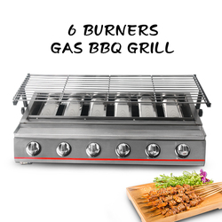 6-Burner LPG Gas BBQ Grill Stainless Steel Adjustable Height Glass/Steel Cover 2800Pa BBQ Grill For Outdoor 79*25cm Grill size