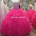 Ruffle Organza vitoriana masquerade Fuchsia hot pink quinceanera vestidos Rosa Partido Do Doce 15 vestido de Baile Vestidos de Baile