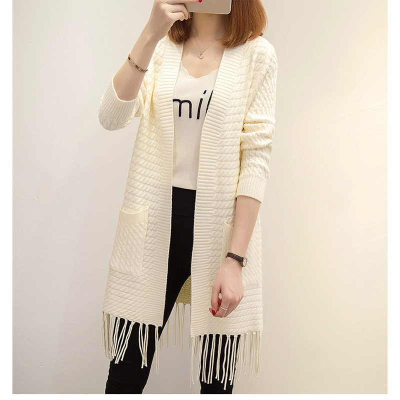 2018 New Autumn Women Long Knittted Sweaters Fashion Elegant Ladies Solid Tassels Cardigan Sweater With Pockets
