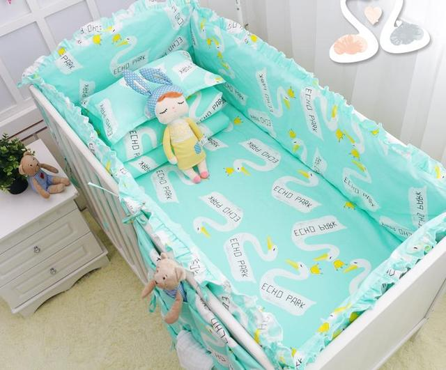 7Pcs/Sets Baby Bedding Sets Cotton Cartoon Wan Design Crib Bed Bumpers Set Fitted Sheet Baby Cot Sheet Quilt Cove  Baby Bedding