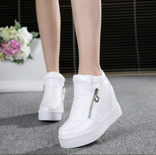 Hot Sales new spring Autumn silver White Hidden Wedge Heels Casual shoes Women s Elevator High