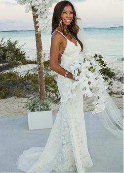 Backless Vestido De Noiva Wedding Dresses Mermaid Spaghetti Straps V-neck Lace Beach Boho Dubai Arabic Wedding Gown Bridal