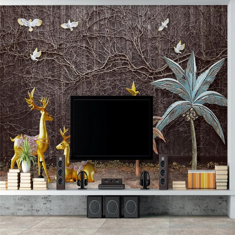 Custom wallpaper modern 3D three-dimensional golden elk landscape background wall painting