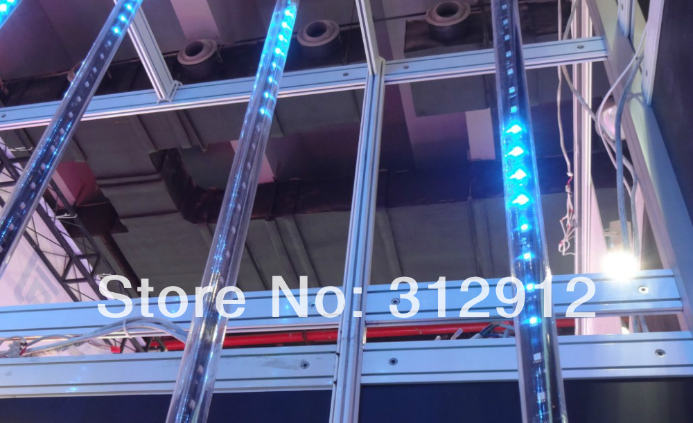7pcs 1.5m long DMX512 360degree 3D LED digital meteor tube;3D dmx vertical tube;24pixels/each tube;IP65;DC12V;36W;30mm diameter