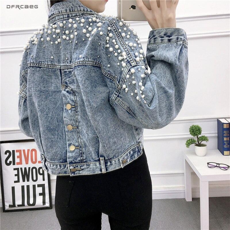 Vintage Women Jean Jacket Witrh Pearls Beading 2019 Spring Long Sleeve Pockets Denim Jackets Women Loose Outwear Female
