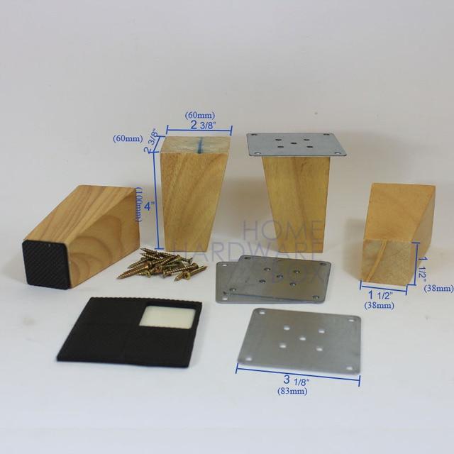 10cm 4x Wooden Cabinet Sofa Leg Natural Wood Furniture Square Wood Legs