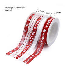 New Multi Styles Love Heart Valentine's Day Polyester Tape Organza Ribbon  Printed DIY Trim Sewing Hairbow Material Accessories