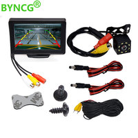 BYNCG 2In1 Car Parking System Kit 4.3 TFT LCD Color Rearview Display Monitor + Waterproof Reversing Backup Rear View Camera