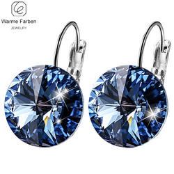 WARME FARBEN серьги для женщин с кристаллами Swarovski Круглый Камень Висячие серьги серебро 925 ювелирные изделия подарок для леди