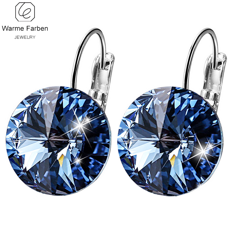 WARME FARBEN Women Earring Made with Swarovski Crystal Round Drop Earring Fine Jewelry 925 Sliver Dangle Earring Female Brincos ...