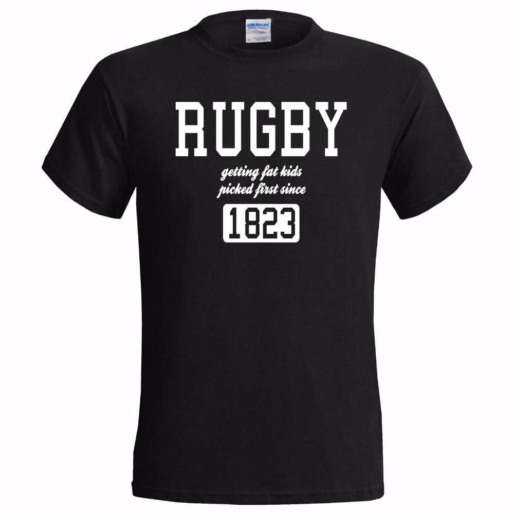 2018 Fashion New Top Tees Shirts Novelty O-Neck Tops Rugbyer Getting Fat Kids Picked First Funny Print T Shirt Men