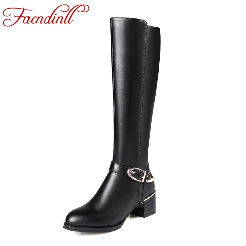 FACNDINLL new shoes woman autumn winter long boots black zipper high heels pointed toe women shoes real leather knee high boots facndinll women knee high boots leather winter boots pointed toe zip casual shoes women high heels size 32 45 black boots woman
