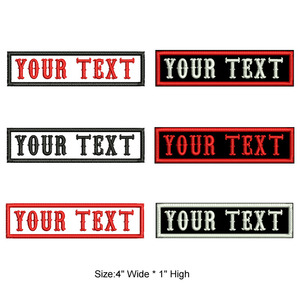 4 inches wide Rectangular custom name text iron on patches sew on bagde military patches for clothing bag(China)