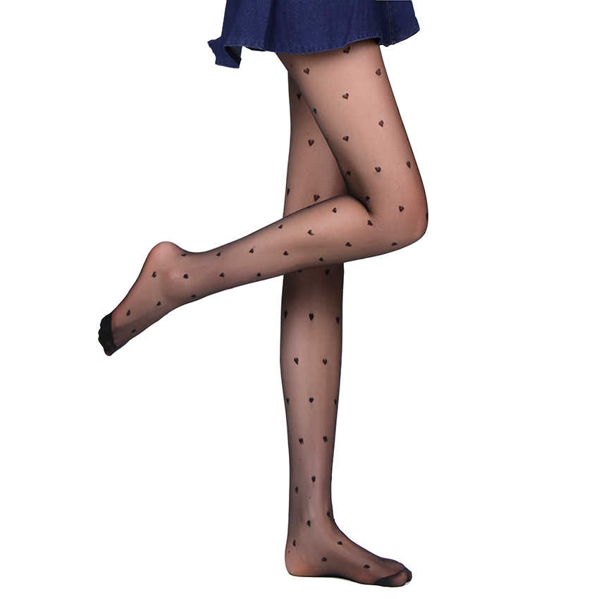 1PC Women Sexy Pantyhose Summer Nylon Tights Stockings Step Foot Seamless Black Love Heart Retro Sexy Pantyhose