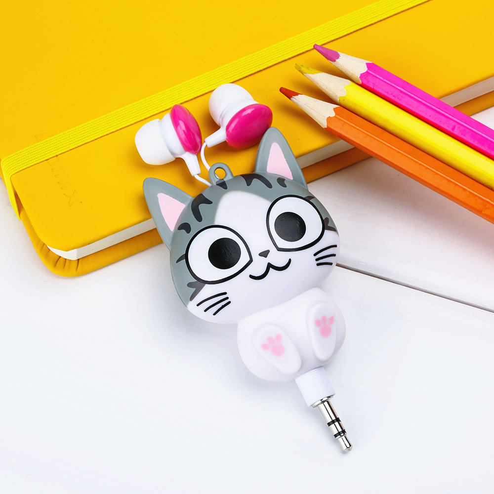 Cute Kawaii Cat Bear Panda Cartoon Retractable Earphone for Samsung Xiaomi Huawei OPPO for IPhone 5 5s 6 6s 7 plus MP3 MP4 Gift glossy tpu gel cartoon pattern mobile cover for iphone 7 plus 5 5 inch polar bear