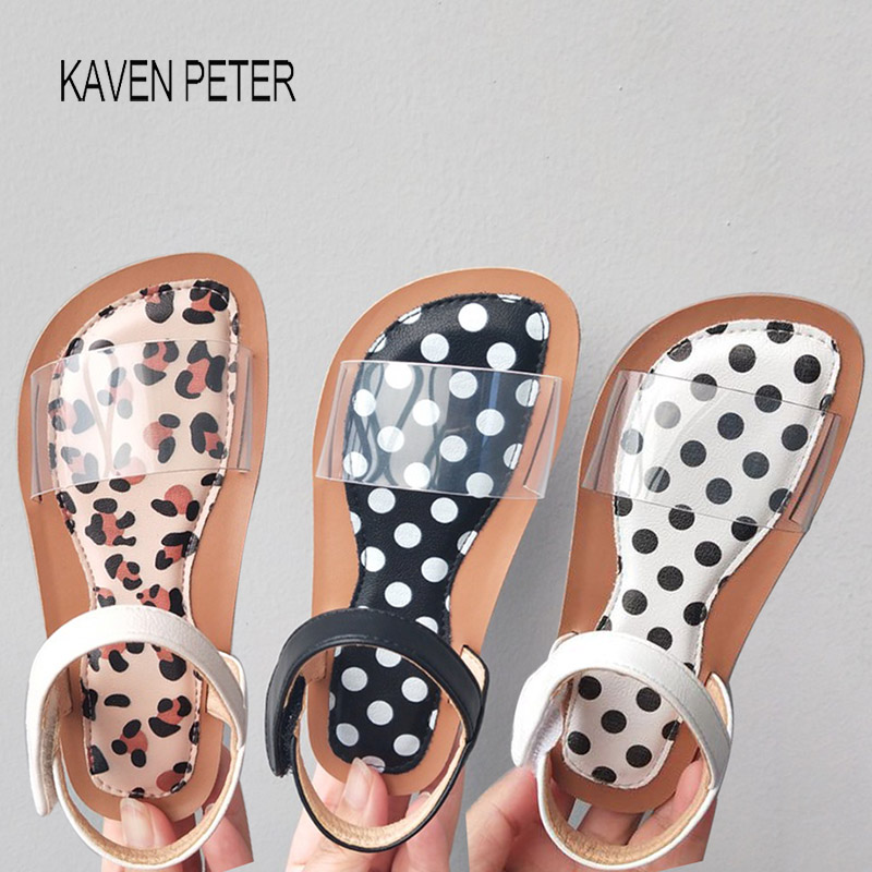 Girls Sandals summer shoes kids girls toddler shoes transparent shoe organizer slippers dot & Leopard print Size from 26 to 33