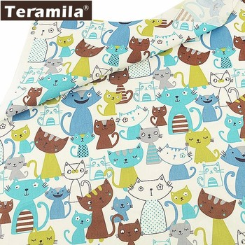 Teramila-Tela de algodón con estampado de gatos, Tela textil de algodón con...